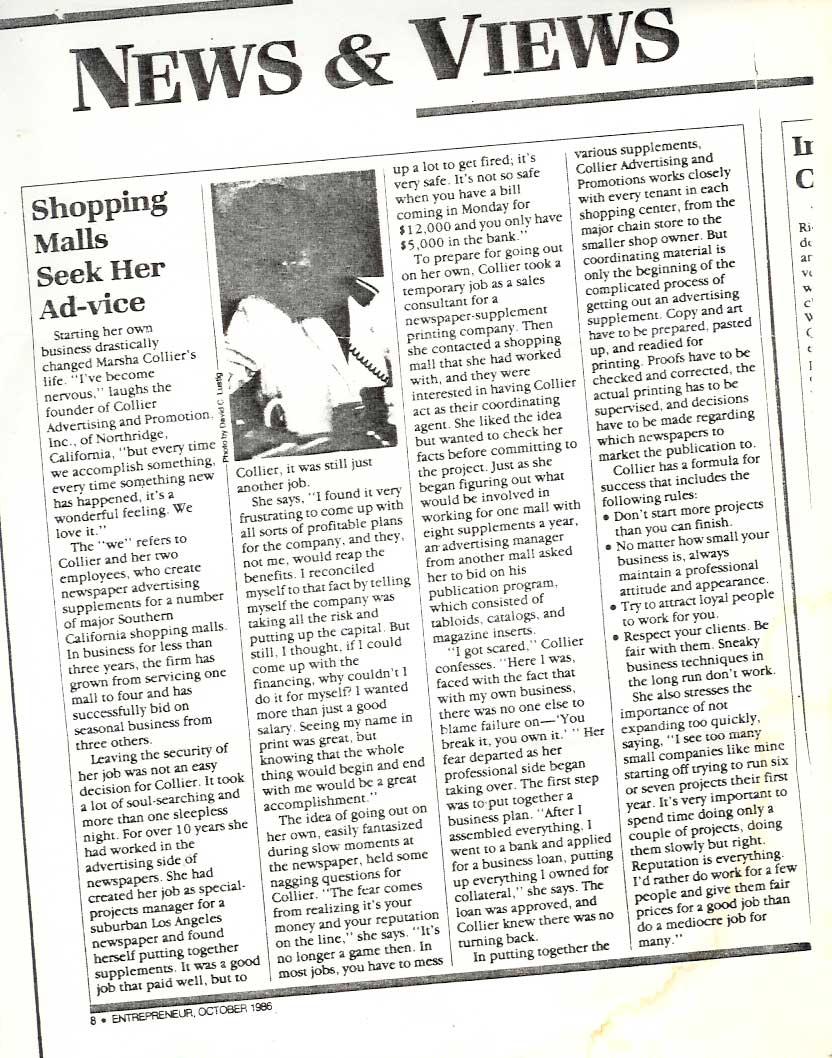 Marsha Collier Entrepreneur Magazine 1986